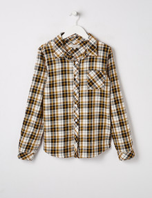 Switch Long-Sleeve Check Shirt, Black, White & Yellow product photo