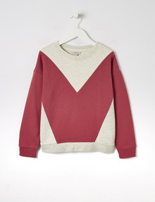 Switch Chevron Crew-Neck Sweatshirt, Dark Rose & Grey Marle product photo