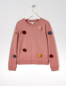 Switch Pompom Crew-Neck Sweashirt, Dark Rose product photo