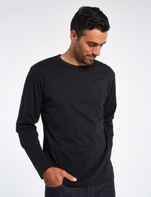 Chisel Long-Sleeve Crew-Neck Tee, Black product photo