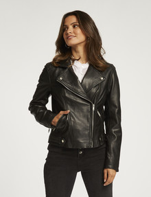 Whistle Long-Sleeve Leather Biker Jacket, Black product photo