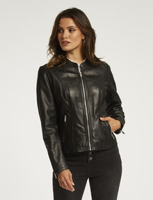Whistle Long-Sleeve Leather Zip-Thru Jacket, Black product photo