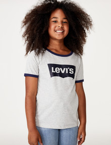 Levis Short Sleeve Oversized Batwing Ringer Tee, Light Grey Heather product photo