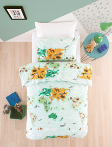 Linen House Kids Mapped Out Duvet Cover Set, Sage product photo