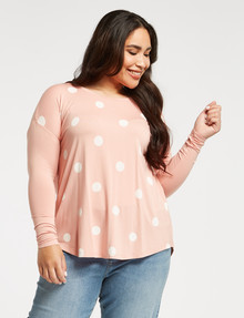 Studio Curve Spot Viscose Long-Sleeve Top, Blush product photo
