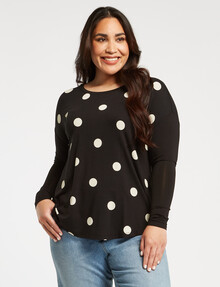 Studio Curve Spot Viscose Long-Sleeve Top, Black product photo