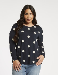 Studio Curve Spot Viscose Long-Sleeve Tee, Ink product photo