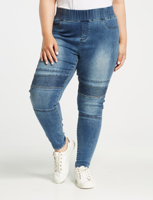 Denim Republic Curve Pull On Biker Jean, Mid Wash product photo