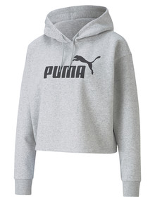 Puma Cropped Logo Hoodie, Light Gray Heather product photo