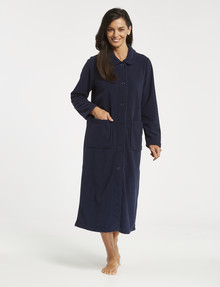 Ruby & Bloom Microfleece Button Through Robe, Navy product photo