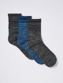 Gym Equipment Quarter Crew Socks, 3-Pack, Grey/Blue product photo