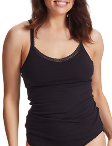 Perfects Cotton Shelf Cami with Lace, Black product photo
