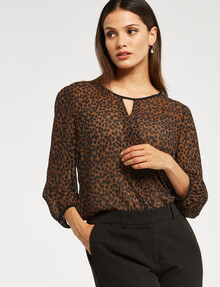 Whistle Tailored Pebble Print 3/4 Sleeve Keyhole Top product photo