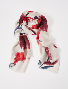 Boston & Bailey Paint Splatter Floral Scarf, Cream & Red product photo