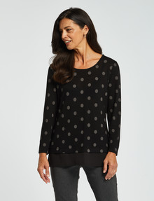 Ella J Spot Two-In-One Top, Black/Grey product photo