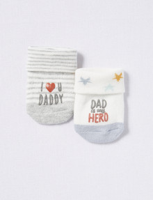 Underworks Terry Turn Over Top Socks, 2-Pack, I Love Dad product photo