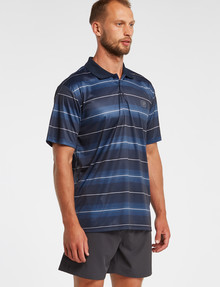 Gym Equipment Stripe Polo, Navy product photo