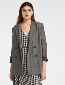 State of play Rebel Check Longline Blazer, Black/White/Grey product photo