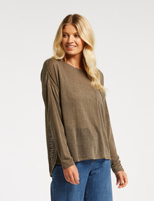 Zest Slouch Pocket Top, Olive product photo