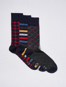 Harlequin Merino Blend Cushion Foot Sock, 3-Pack, Navy product photo