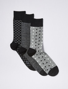 Harlequin Merino Blend Cushion Foot Sock, 3-Pack, Grey product photo
