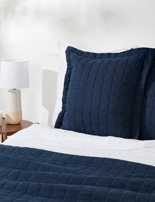 Haven Bed Linen Quilted Linen European Pillowcase, Navy product photo