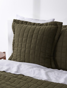 Haven Bed Linen Quilted Linen European Pillowcase, Olive product photo