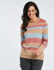 Ella J Stripe Button-Detail Crew-Neck Jumper, Pinot & Aqua product photo