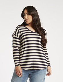 Studio Curve Stripe Viscose Long-Sleeve Tee, Ink product photo