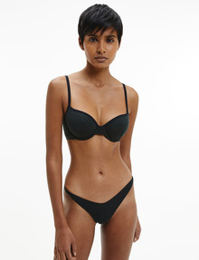 Calvin Klein Pure Ribbed Lightly Lined Demi Bra, Black, A-DD product photo
