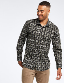 L+L Long-Sleeve Leaf Chain Shirt, Black product photo