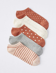 Lyric Anklet Sock, Blush Pattern, 5-Pack product photo