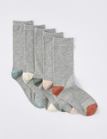 Lyric Crew Sock, Grey Marle & Dusty, 5-Pack product photo