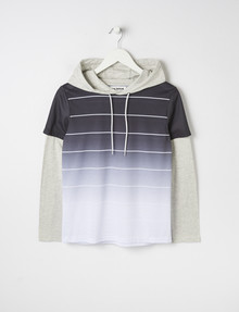 No Issue Stripe Long-Sleeve Hooded Tee, Grey product photo