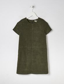 Switch Short-Sleeve Suedette Dress, Olive product photo