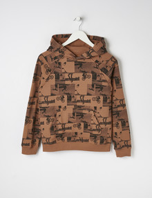No Issue Bike & Skateboard Print Pull-On Hoodie, Toffee product photo