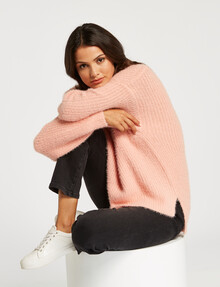 Whistle Fluffy Roll-Neck Jumper, Blush product photo