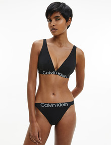 Calvin Klein Reconsidered Comfort Cotton High Leg Tanga, Black product photo