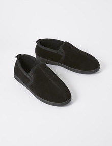 Chisel Ronson Slipper, Leather Suede, Black product photo