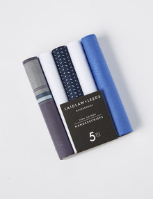Laidlaw + Leeds Winter Hankies 5-Pack Gift Box F, Navy & White product photo