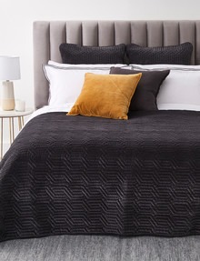 Kate Reed Keira Velvet Coverlet, Charcoal product photo