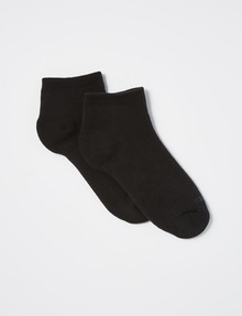 NZ Sock Co. Cushioned Cotton Trainer Anklet Sock, 2-Pack, Black product photo