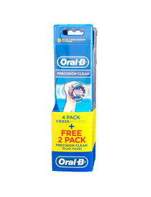 Oral B Cross Action Refill, 4-Pack + Precision Clean Brush Heads, 2-Pack, EB50-4PC product photo