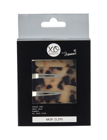 xoBeauty Hair Clips, 4-Pack, Leopard Print product photo