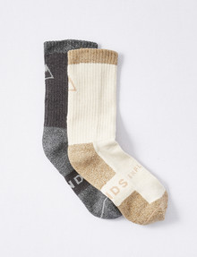 Bonds Explorer Everyday Tough Crew Sock, 2-Pack, Crew Beige/Dark Marl product photo