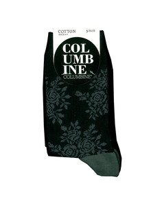 Columbine Floral Stripe Crew Sock, 3-Pack, Black/Grey product photo