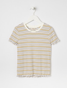 Switch Ribbed Short-Sleeve Tee, Ivory, Black, Pink, Lilac & Mustard product photo