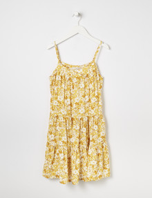 Switch Floral Print Tiered Sleeveless Dress, Yellow product photo