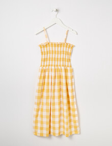 Switch Gingham Shoestring Midi Dress, Yellow product photo