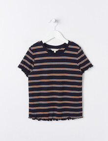 Switch Striped Short-Sleeve Ribbed Tee, Navy product photo